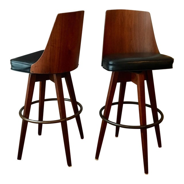 Mid-Century Walnut Bentwood, Leather Swivel Barstools - A Pair - Image 1 of 5