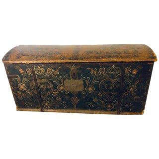 Original Painted Dowry Chest Trunk or Luggage, Dated 1840 For Sale