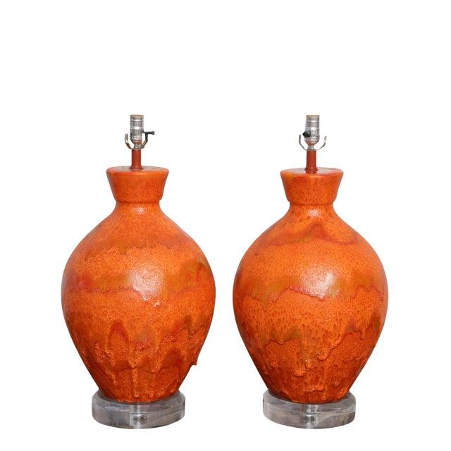 Pair of Monumental Sized Orange Mottled Glaze Ceramic Lamps For Sale