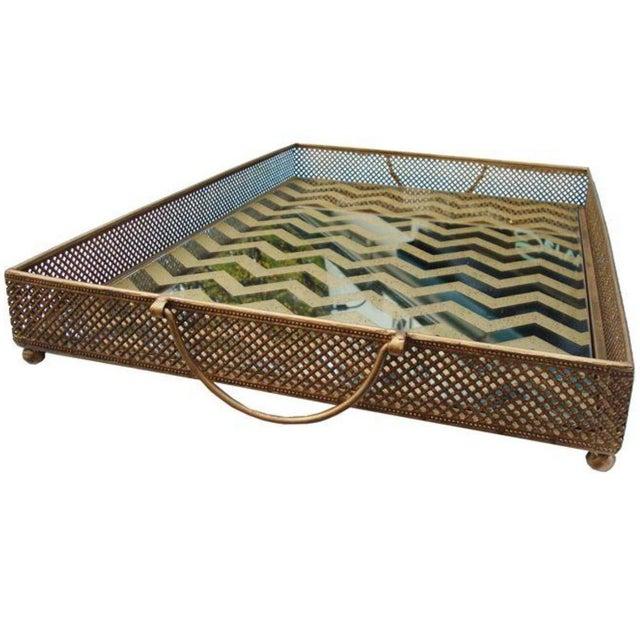 Mirrored Gold Chevron Tray - Image 2 of 4