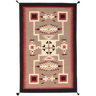 Navajo Style Wool Area Rug - 5′1″ × 7′ For Sale