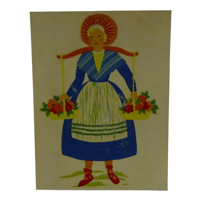 The Meyercord Co. Chicago Flower Girl Decal / Wall Decoration For Sale