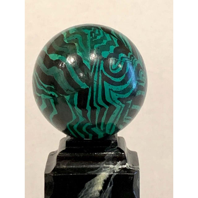 Bob Christian 1987 Faux Malcihite Orbs - a Pair For Sale In West Palm - Image 6 of 13