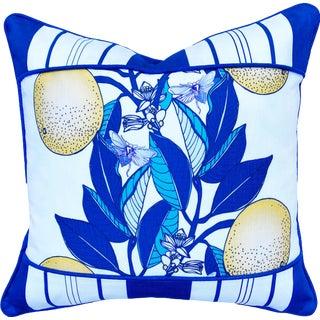 "Orange Blossom Banded Stripe Classic Blue 20"" Linen Cotton Pillow For Sale"