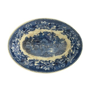 Vintage Indigo Blue Toile Serving Bowl For Sale