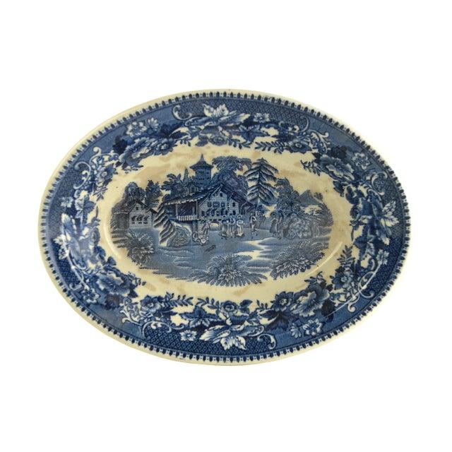 Vintage Indigo Blue Toile Serving Bowl - Image 1 of 6