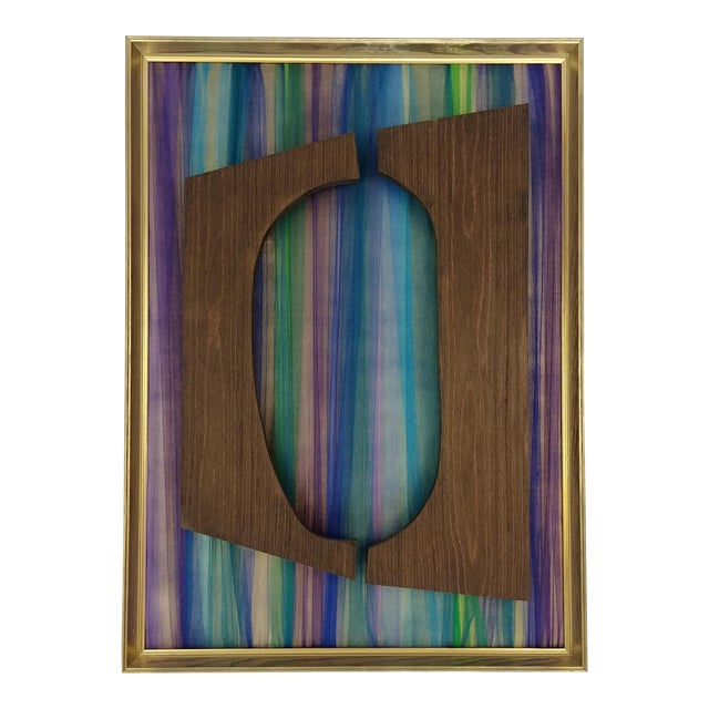 Contemporary Mixed Media Fabric and Wood Wall Installation, Framed For Sale