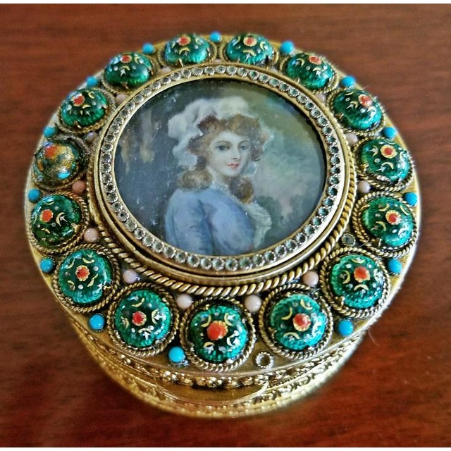 Early 19c French Gold Box With Enamel and Miniature Portrait For Sale - Image 9 of 12