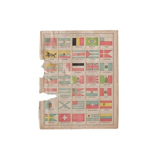 Cram's 1907 Map of Flags of Nations For Sale