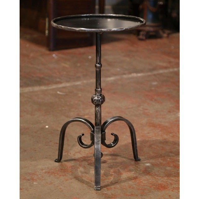 Black Early 20th Century French Polished Iron Martini Pedestal Table For Sale - Image 8 of 10