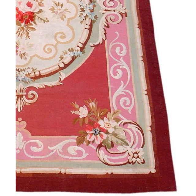 French Aubusson Scatter Rug For Sale - Image 3 of 3