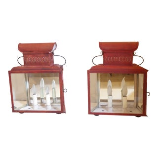 Vintage Rustic Brick Red Tole Lantern Sconces - a Pair For Sale