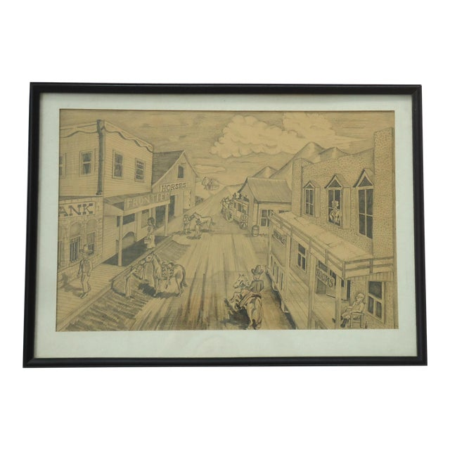 """Vintage Bob Everett """"Centennial Before the Storm"""" Drawing For Sale"""
