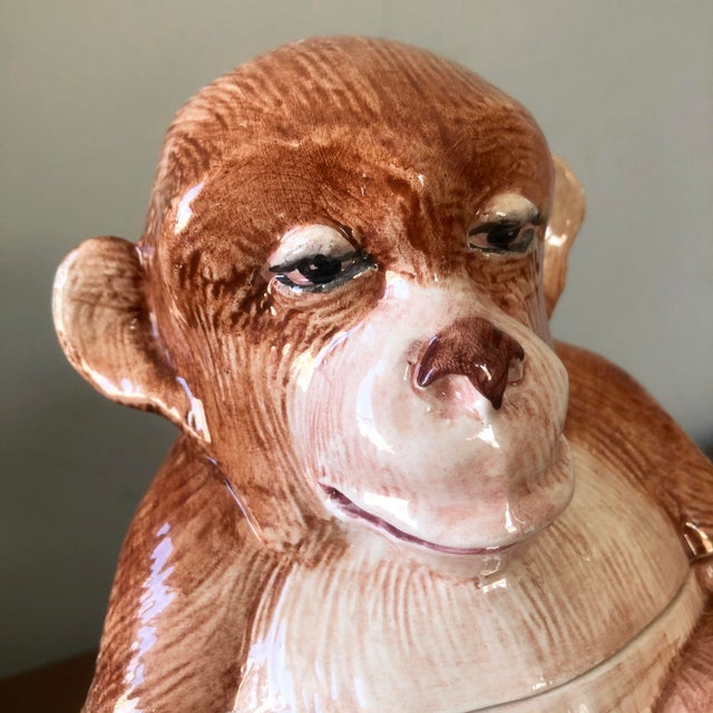 Vintage pottery monkey covered dish or jar. Made in Italy.