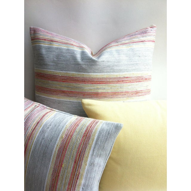 Coral & Grey Stripe Euro Sham Pillow Cover - Image 4 of 6