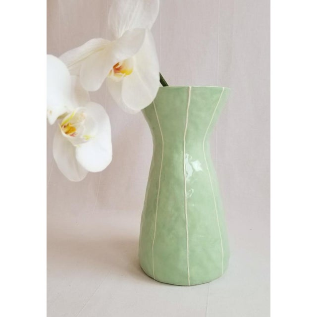 2010s Contemporary Light Green Ceramic Vase For Sale - Image 5 of 5