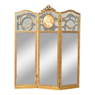Antique French Three Panel Folding Wardrobe Screen - Wall Mirror Triptych For Sale