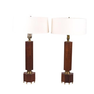 Mid Century Walnut and Brass Lamps - a Pair For Sale
