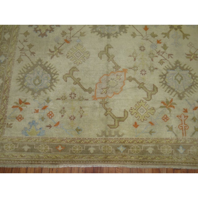 1920s Square Antique Ivory Field Oushak Rug, 7'5'' X 9' For Sale - Image 5 of 9