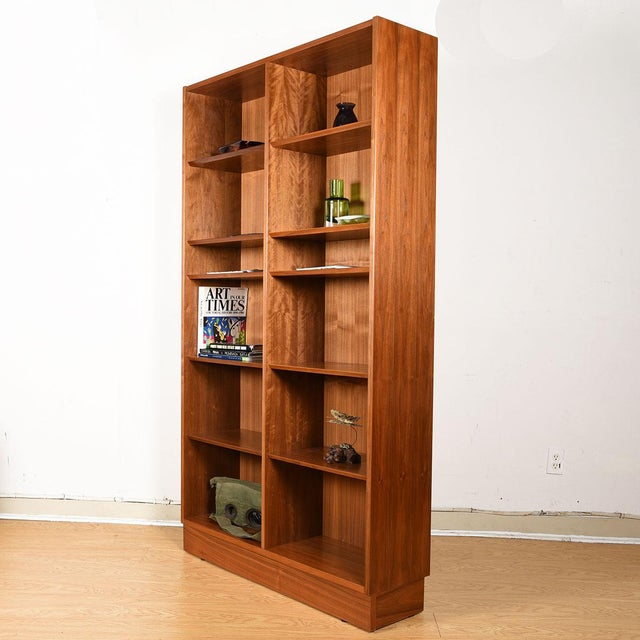 Sienna Danish Walnut 42″ Tall Bookcase W/ Adjustable Shelves For Sale - Image 8 of 9