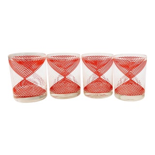 Vintage Georges Briard Red & White Geometric Glasses - Set of 4 For Sale