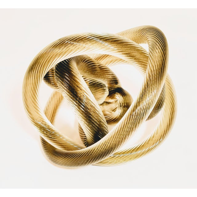 Crystal 1950s Vintage Zanetti Murano Style Glass Knot Clear Rope Twist Sculpture For Sale - Image 7 of 7