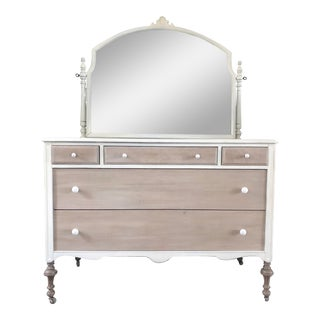 1930s Shabby Chic Dresser & Mirror For Sale