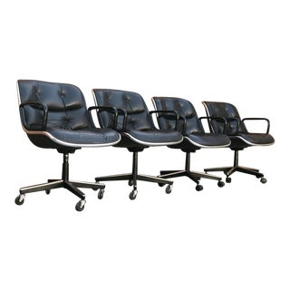Set of 4 Charles Pollock for Knoll Executive Black Leather Chairs For Sale
