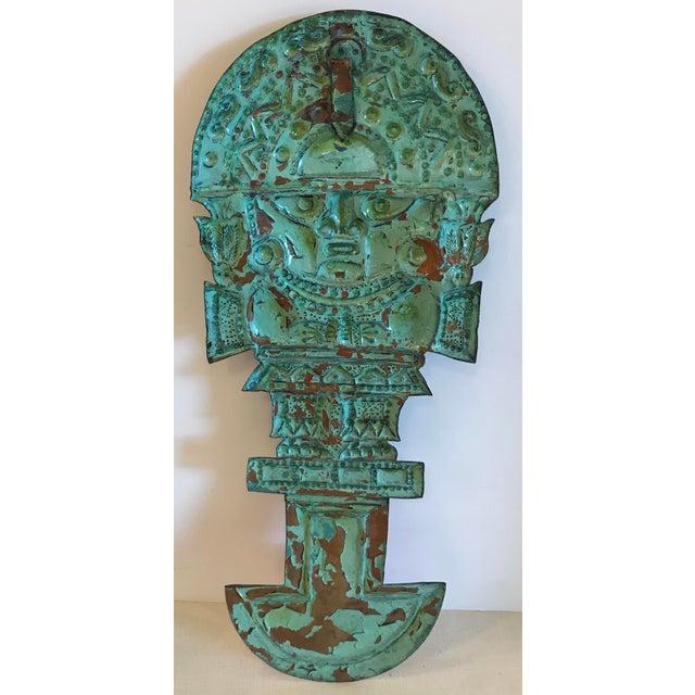 Vintage Copper Aztec God Wall Hanging For Sale - Image 4 of 9