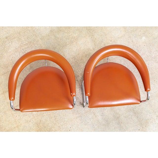 Orange Mid Century Anton Lorenz Cantilever Chairs For Sale - Image 8 of 11