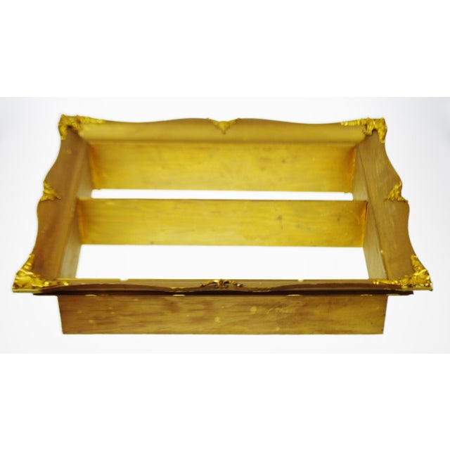 Early Gilt Gesso Shadow Box Wall Shelf with Brass Filigree Adornments For Sale - Image 10 of 11