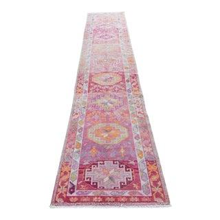 """Vintage Kurdish Geometric Pink Orange Wool Low Pile Rug Runner - 13'5"""" X 2'9"""""""