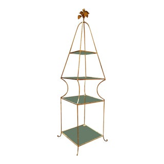 1960s Mid-Century Italian Iron and Glass Obelisk Sculptural Glam Form Gilded Etagere