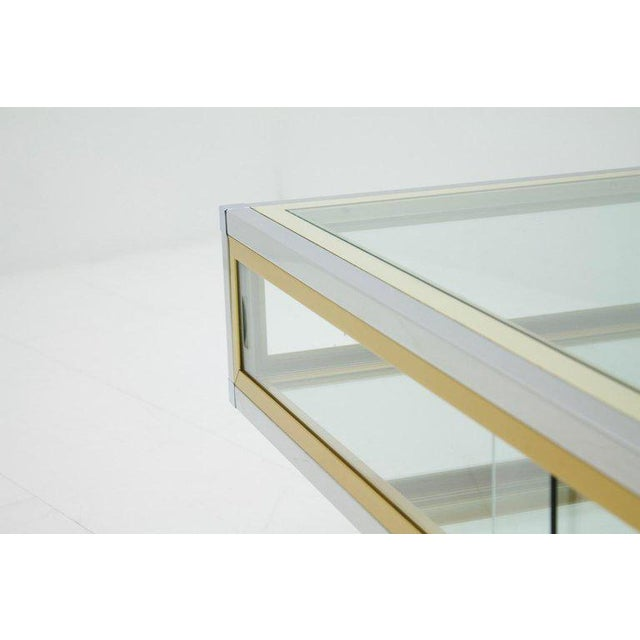 Vitrine Coffee Table in Chrome, Brass and Glass, France 1970s For Sale - Image 4 of 13