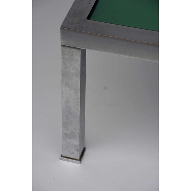 Green 1970s Guy Lefevre Brushed Steel and Emerald Mirror Cocktail Table For Sale - Image 8 of 9