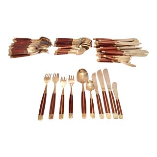 1950s Vintage Modernist Rosewood & Brass Inlay Flatware - Set of 87 For Sale