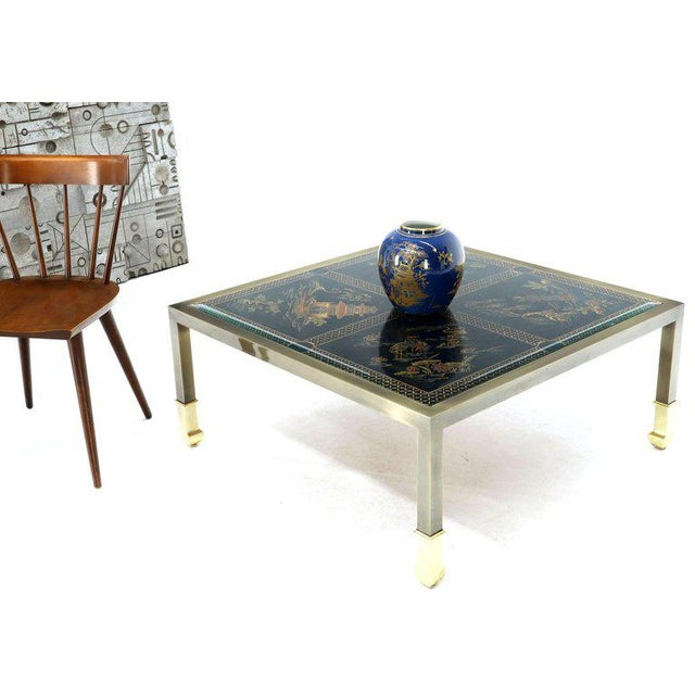 1970s Brass and Gold Decorated Reverse Painted Glass Top Square Coffee Table For Sale - Image 5 of 13