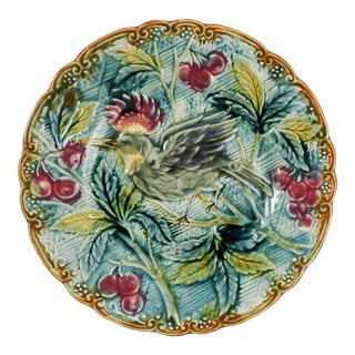 Vintage Majolica Plate With Bird & Cherries