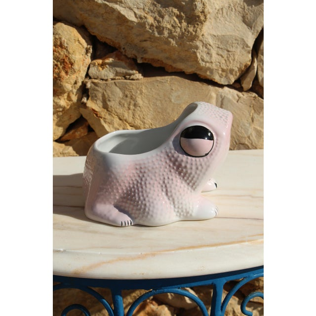 1970's Vintage Hobnail Frog Planter in the Style of Jean Roger For Sale - Image 10 of 13