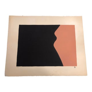 Black & Dark Peach Minimalist Hand-Painted Serigraph 3/34 by Geoffrey Graham For Sale