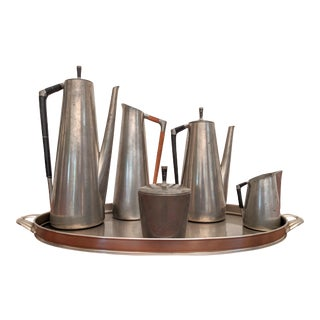 Modern Coffee and Tea Service in Pewter and Mahogany by K M D Royal Holland - Set of 6 For Sale