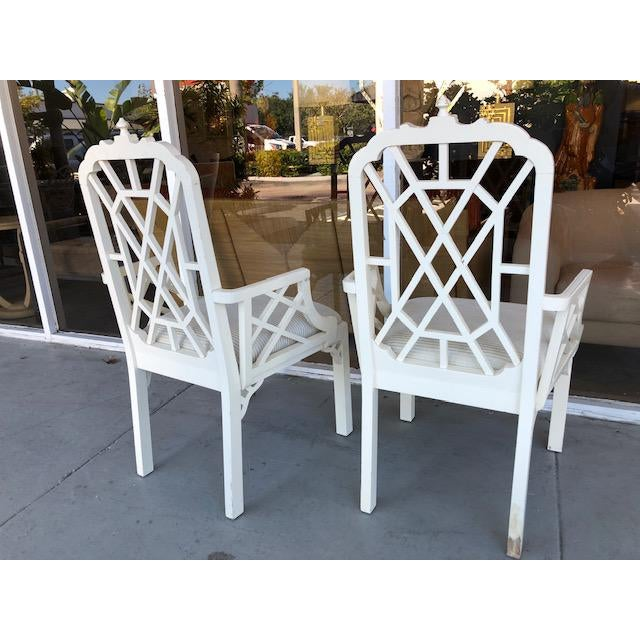 Fabric 1970s Vintage Palm Beach Regency Chinoiserie Pagoda Arm Chairs- A Pair For Sale - Image 7 of 10