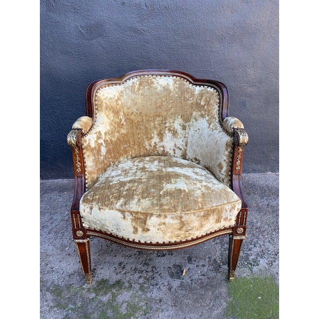 Transitional 19th Century Vintage French Bronze Mounted Barrel Chair For Sale - Image 3 of 13