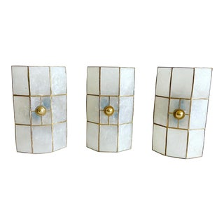 Capiz Shell Flush/Wall Lights - Set of 3 For Sale