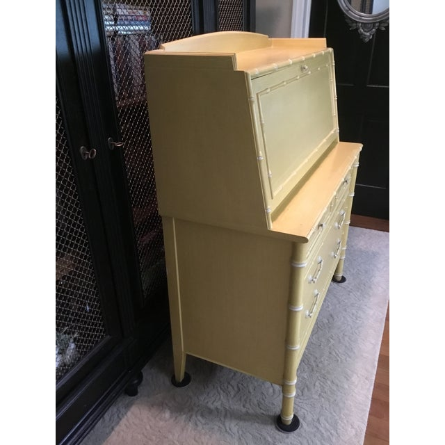 1960s Thomasville Faux Bamboo Drop Down Secretary Desk For Sale - Image 5 of 7