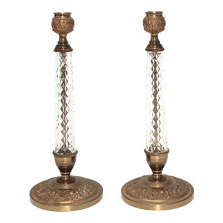 Mid-Century Cristalleries De Sevres Candle Holders Louis XVI Style Patinated Bronze and Faceted Crystal Candlesticks - a Pair For Sale