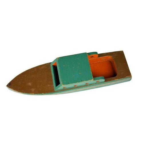 Vintage Green Wooden Toy Boat - Image 4 of 5