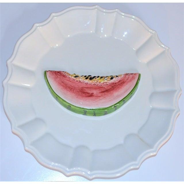 (Final Markdown) 1970's Majolica Italian Trompe l'Oeil Melon Plate For Sale - Image 4 of 7