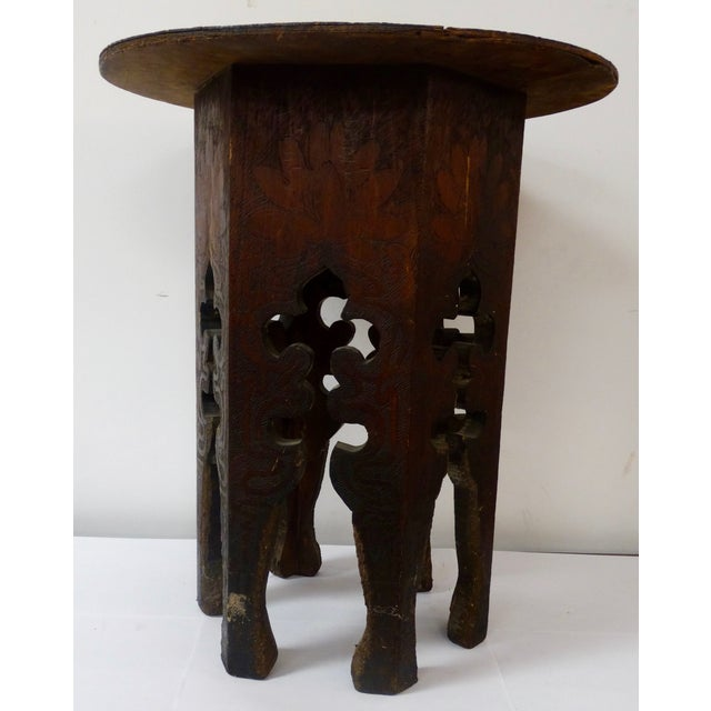 Rustic Pyrography Wooden Side Table For Sale - Image 3 of 4