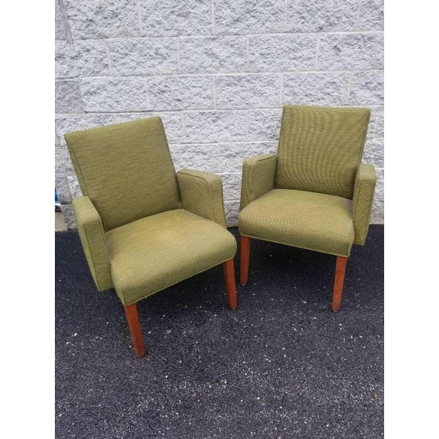 Mid-Century Modern Mid Century Modern Green Lounge Chairs by Milwaukee Chair Company - Pair For Sale - Image 3 of 9